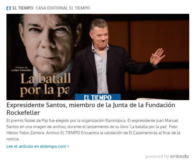 Santos elegido en Junta de la Fundación Rockefeller 1