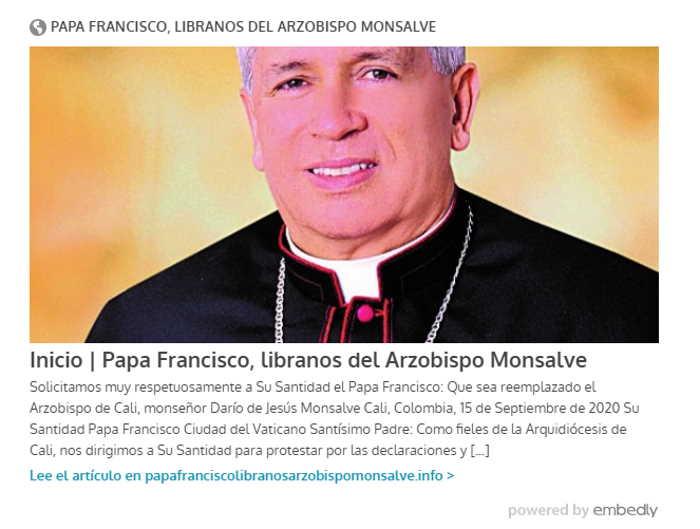 Libranos del arzobispo Monsalve