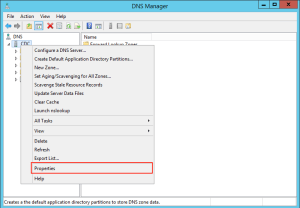 DNS Manager with the opened context menu for the DC