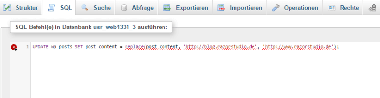 The pasted MySql query to change the urls.