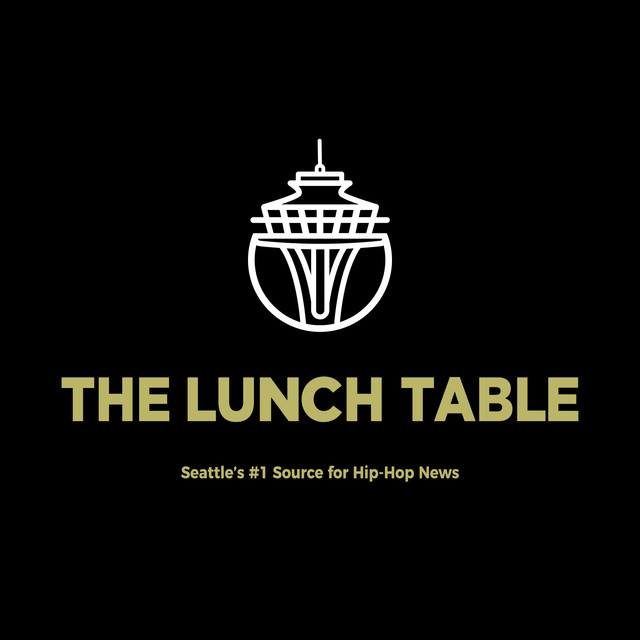 Black logo with goldish lettering for The Lunch Table podcast.