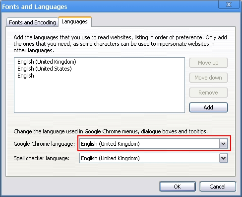 Select the desired language from the drop-down menu
