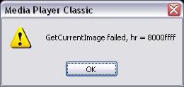 GetCurrentImage failed, hr = 8000ffff