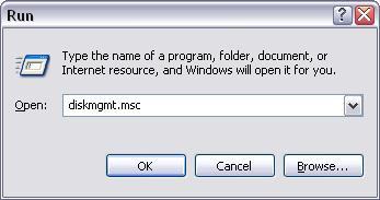 Run - DiskMgmt.msc