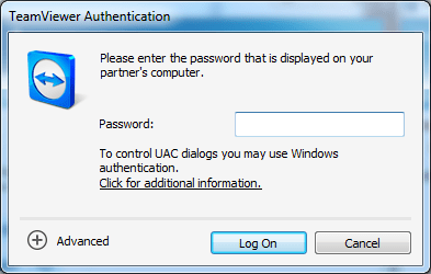 TeamViewer authentication window asking for partner password.