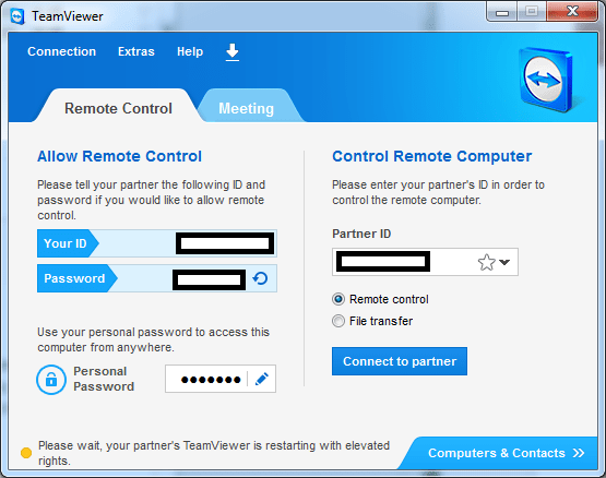 Wait while the TeamViewer session is relaunched with administrative privilege