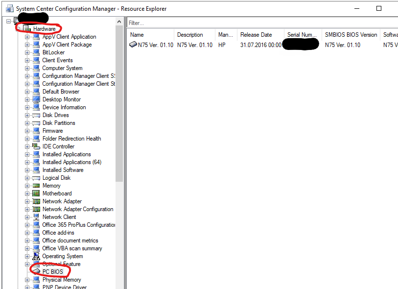 Screenshot of SCCM Resource Explorer, showing the entries under PC BIOS