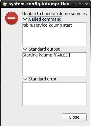 "Screenshot of KDump failure: ""Starting kdump:[FAILED]"""