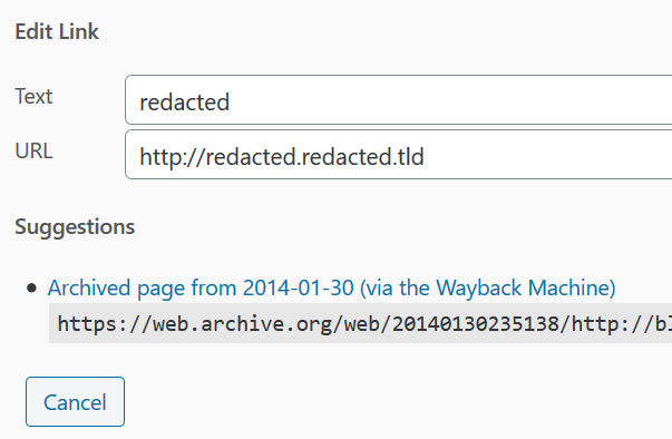 Screenshot of Broken Link Checker's Edit Link functionality, showcasing the suggested page at the WayBack Machine.