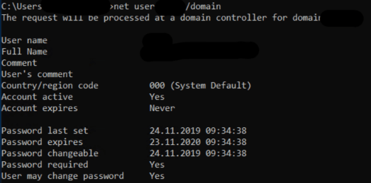Screenshot of the result of the command net use %USERNAME% /domain