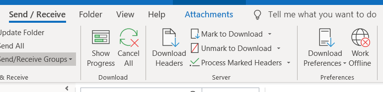 Screenshot of Outlook, showing the Send/Receive tab, with Work Offline to the far right.