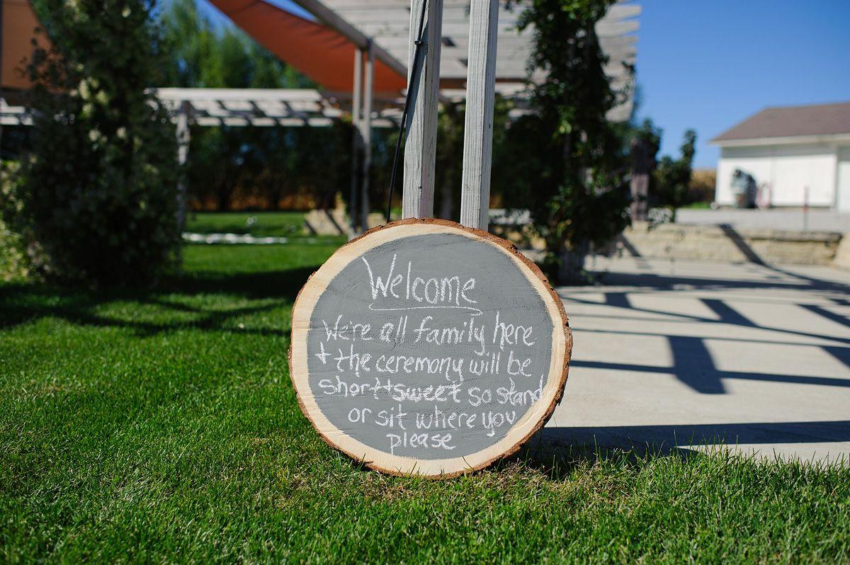 Hand Written Sign for an outdoor wedding