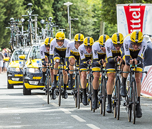 Plumelec, France - 13 July, 2015: Team LottoNL Jumbo riding the Team Time Trial stage between Plumelec and Vannes, during Tour de France on 13 July, 2015.