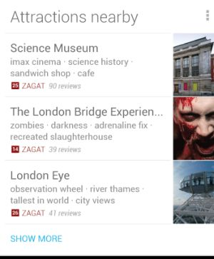 Google Now Cards aNearby Attractions