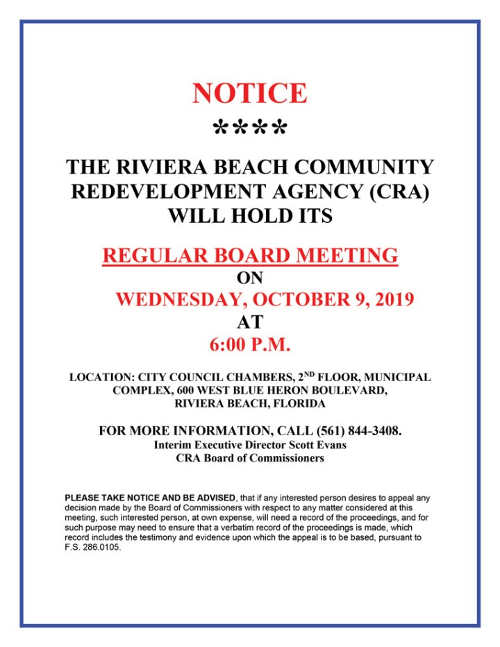 10-9-19 CRA Regular Board Meeting Notice