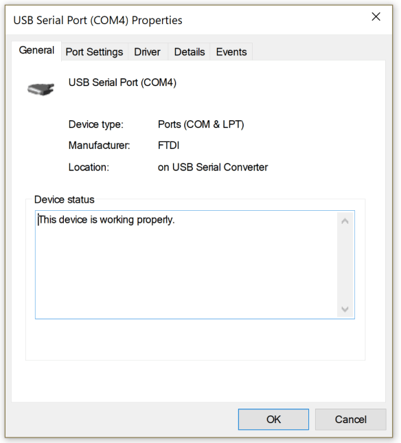The COM port settings for the 9103 USB VCP