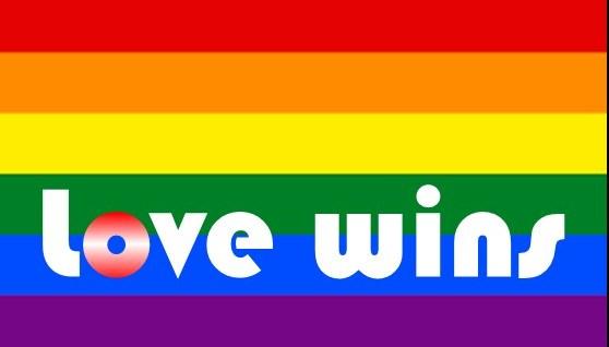 """Regenbogenfahne mit Schriftzug """"love wins"""""""