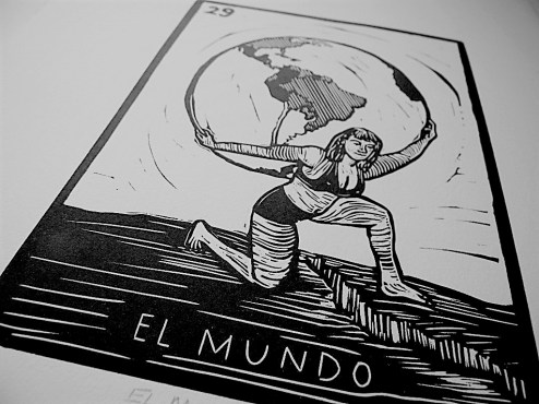 "Alex Velazquez Brightbill says her linocut print ""El Mundo,"" based on a card from the popular game Loteria, illustrates how women ""are always holding on to the future for our lives and our families."""
