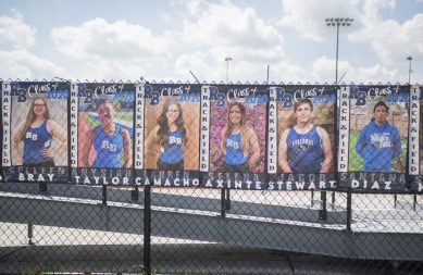 Senior athletic banners hang on the fence on May 15, outside of the stadium at Riverside Brookfield High School (Alex Rogals/Staff Photographer).