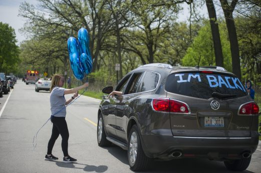 A parade for Maxx Kusper goes around on May 16, at the corner of Washington and Arden Avenues in Brookfield. (Alex Rogals/Staff Photographer)