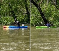 A witness took these pictures of the kayakers. Police are asking anyone who knows the men to let them know if they are safe. (Photo courtesy of the Riverside Police Department)