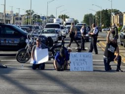 Marchers peacefully protesting the death of George Floyd briefly blocked the intersection of Harlem Avenue and Cermak Road on Tuesday evening during their march to and from Cicero Town Hall. | Bpb Uphues/Editor
