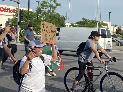 Demonstrators called for unity while protesting the death of George Floyd during a march that closed the intersection of Harlem and Cermak on June 3. | Bob Uphues/Editor