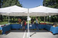 Shoppers look over the fresh produce from Cooper Farms on Saturday, June 6, 2020, during the opening weekend of the Brookfield Farmers Market outside of Village Hall in Brookfield. (Alex Rogals/Staff Photographer)