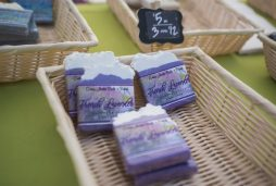 A booth selling different types of hand made soaps is seen on Saturday, June 6, 2020, during the opening weekend of the Brookfield Farmers Market outside of Village Hall in Brookfield. (Alex Rogals/Staff Photographer)