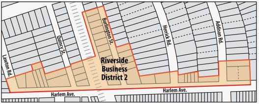 Riverside trustees voted on June 18 to create a pair of new business districts along Harlem Avenue to encourage redevelopment and create a source of revenue to help that effort. One district centers on the area near the BNSF tracks, the other wraps around the corner of Harlem and Ogden. (Graphics by Javier Govea)