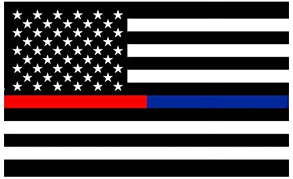 The Blue Lives Matter flag variant, with a half red/half blue central stripe representing firefighters and police officers.