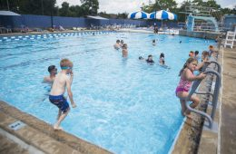 Families cool off in the pool on July 26, at the Riverside Swim Club in Riverside. (Alex Rogals/Staff Photographer)