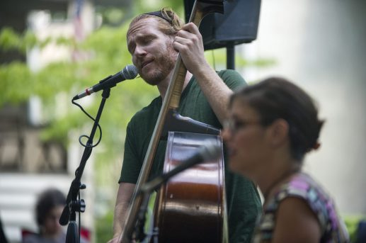 Patrick Williams performs during a block party session on Clarence Avenue in Oak Park on Aug. 8. (Alex Rogals/Staff Photographer)