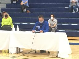RBEA President Dan Bonarigo reads a statement in support of remote learning prior to the school board's unanimous vote to adopt a hybrid option that includes in-person attendance. | Bob Skolnik/Contributor