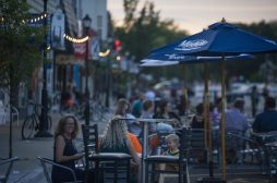 Guests eat and drink outside at the patio seating on Aug. 28, on Grand Avenue in Brookfield. (Alex Rogals/Staff Photographer)