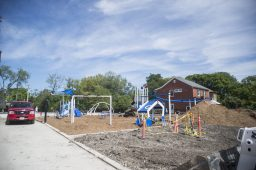 The new playground was still under construction as classes started on Sept. 2, at A.F. Ames Elementary School in Riverside. (Alex Rogals/Staff Photographer)