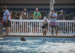 Members laugh and take photos of dogs swimming in the pool on Sept. 7, during the Dog Days of Summer dog swim at the Riverside Swim Club. (ALEX ROGALS/Staff Photographer)