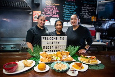 Vivi Noa (center) brings the Cuban food at Cafe Media Noche to life. She is flanked by her family/business partners Chasity (left) and Evelyn Noa (right). Photo by Alex Rogals.