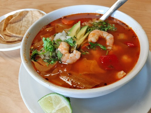 Tacos y Salsa serves up homestyle shrimp soup. Photo by Melissa Elsmo