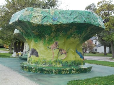 """Spruced up: The """"mushroom"""" shelters at the Zoo Stop in Brookfield were recently painted by staff from Brookfield Zoo's Exhibit Department and Paint Shop. (Photo by Chris Stach)"""