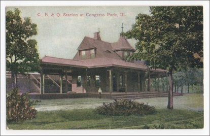 Long ago: An old postcard features the Congress Park train station. (Photos Courtesy of Chris Stach)