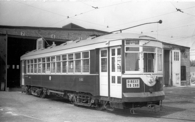 Car 141 sits outside the West Towns line car barn on the northwest corner of Cermak Road and Harlem Avenue, now the site of CVS Pharmacy and Joe Rizza Ford, in 1939. (Photo courtesy of the Illinois Railway Museum Library)