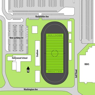 RBHS is proposing to turn land on its campus used presently for tennis courts and an athletic field into a 130-space parking lot. (Illustration by Sky Hatter)