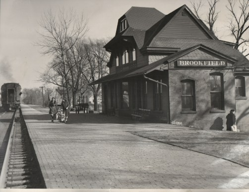 By the time this photo was taken in about 1954, the station had been altered significantly inside and out. Repairs after a 1952 fire gave it a box-like appearance. (Courtesy Chris Stach collection)