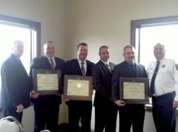 From left, Riverside Police Chief Tom Weitzel, Sgt. Leo Kotor, Sgt. Matthew Buckley, Lyons Cmdr. Brian Kuratko, Cmdr. Christian Ehrenberg, North Riverside Chief Lane Niemann.