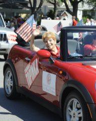 Judy Baar Topinka in her little red car.