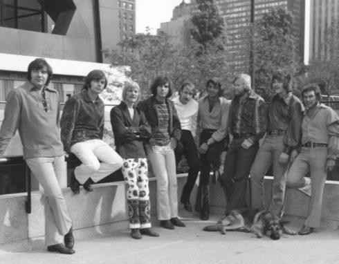 The original Chase Band, circa 1971, outside the John Hancock building, Chicago