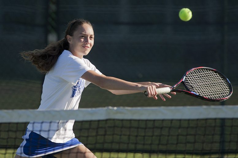 Senior Nina Dorenbos provides experience, leadership and versatility for the RBHS tennis team. She is a four-year member of the tennis program and plays No.1 doubles with Nicole Sinnott and No.3 singles for the Bulldogs. (David Pierini/Staff Photographer)