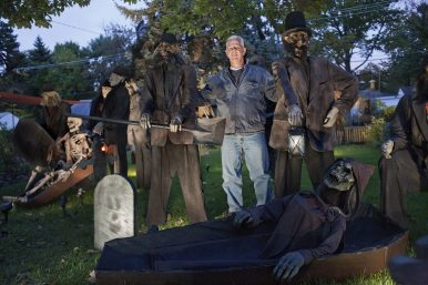 DAVID PIERINI/Staff Photographer Mr. Halloween: To say Ken Novitski celebrates Halloween may be an understatement. The decorations at his Brookfield home attract a lot of slow-moving vehicles with people in awe of his display.