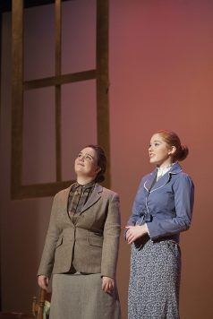 """'Another day's begun': Moira Dunn, left, and Annabelle Daily play the stage managers in the Riverside-Brookfield performance of """"Our Town."""""""